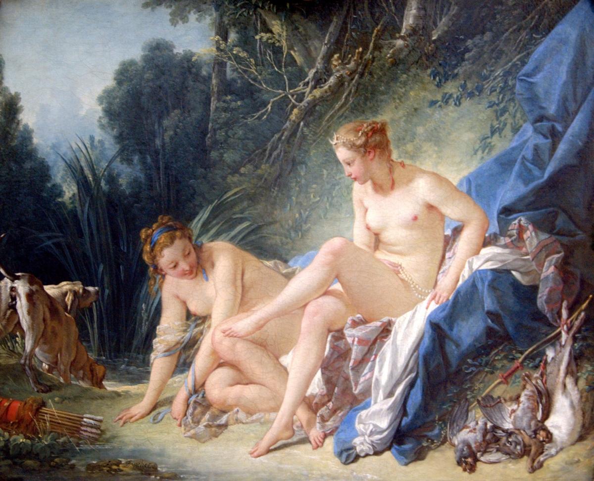 Diane sortant du bain tableau peint par François Boucher