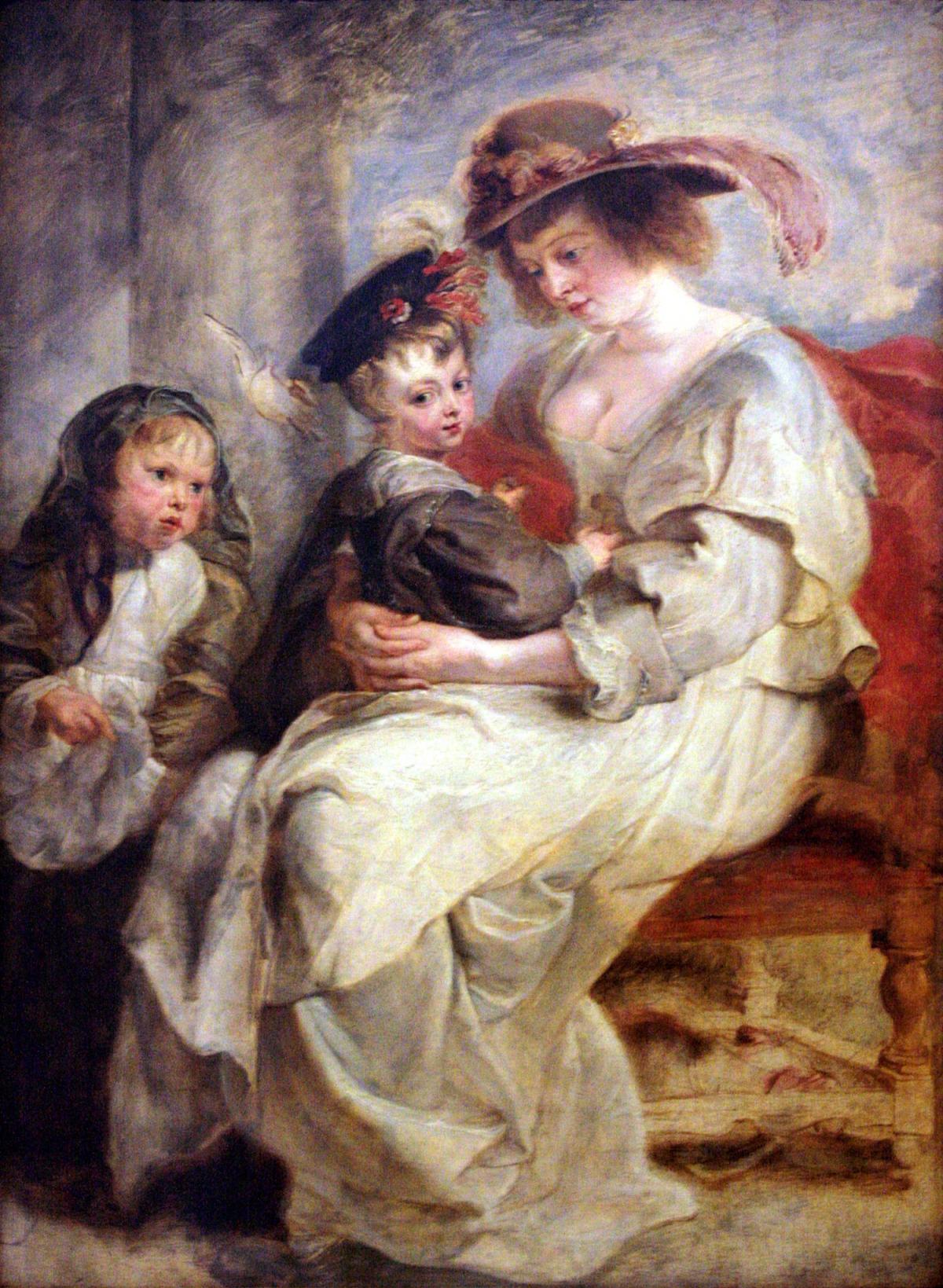 Hélène Fourment et deux de ses enfants par Pierre Paul Rubens