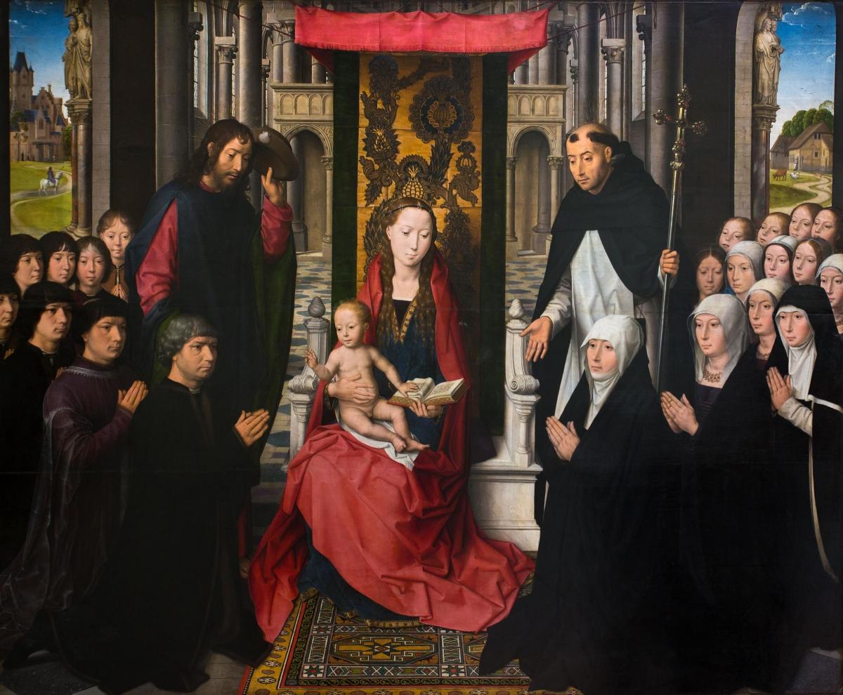 La Vierge et l'Enfant entre saint Jacques et saint Dominique peint par Hans Memling