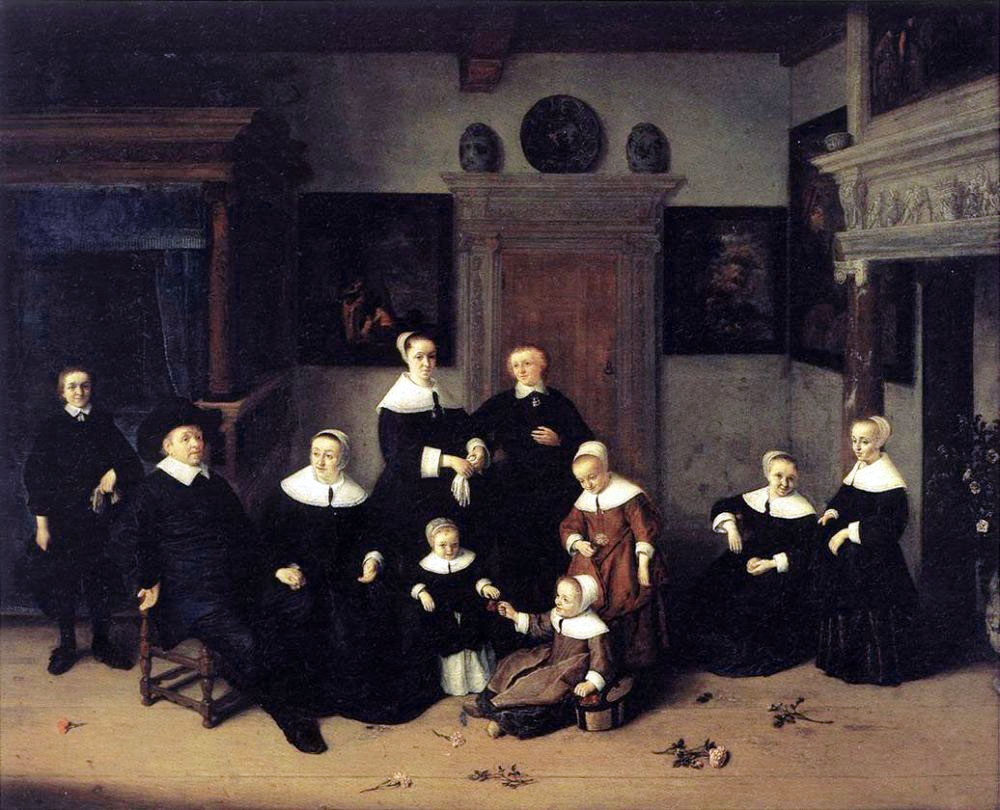 Portrait de famille tableau peint par Adriaen Van Ostade