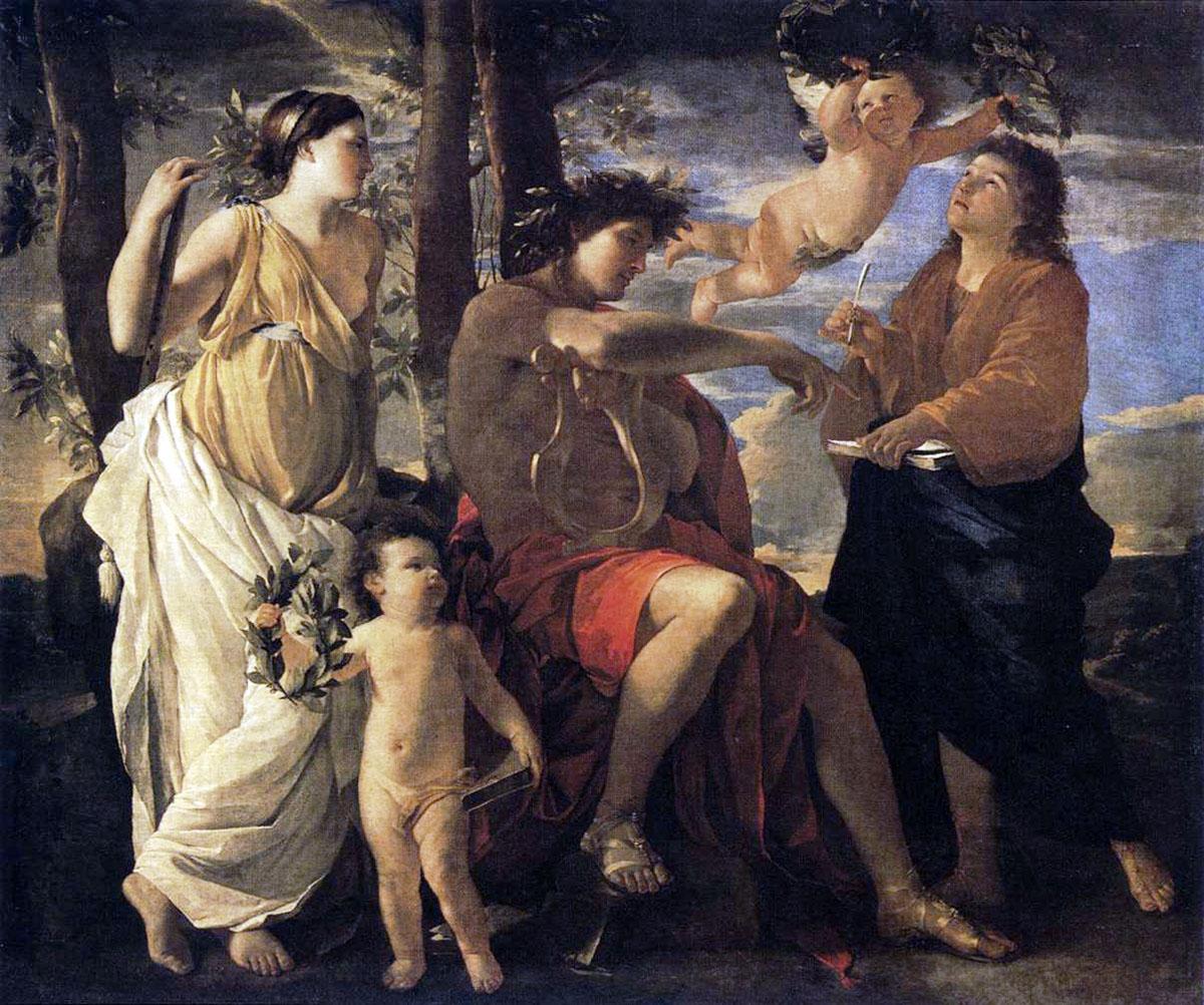 L'Inspiration du Poète tableau peint par Nicolas Poussin