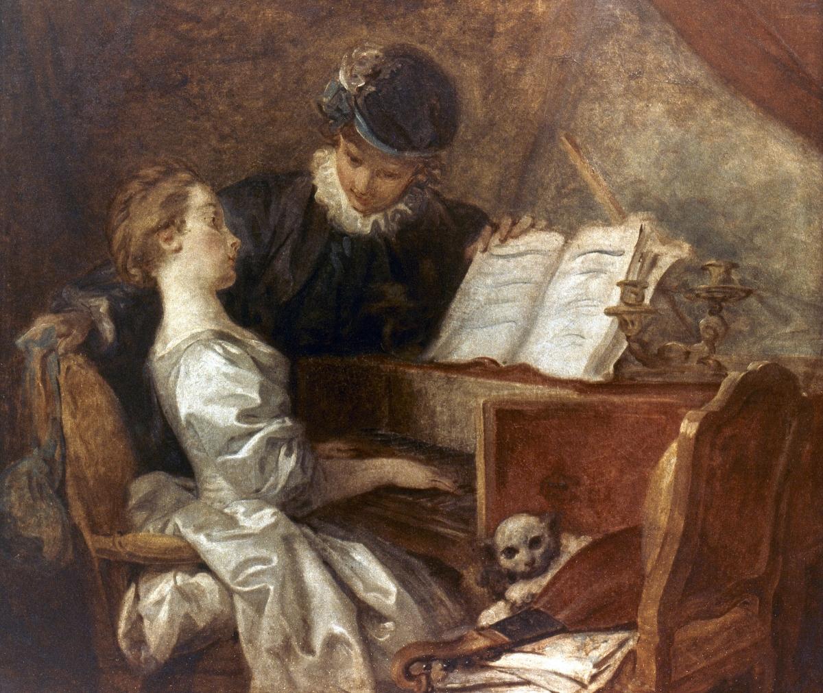 La leçon de musique tableau peint par Jean-Honoré Fragonard